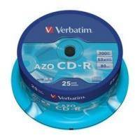 VERBATIM CD-RECORDABLE 80MIN - 700 MB CRYSTAL AZO 52X CAKEBOX 25