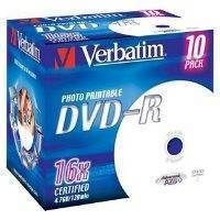 VERBATIM DVD+R 16X 4.7GΒ JEWEL PRINTABLE 10PCS