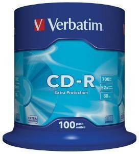 VERBATIM CD-R 80MIN - 700 MB EXTRA PROTECTION 52X CAKEBOX 100
