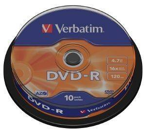VERBATIM DVD-R 16X 4,7GB MATT SILVER CAKEBOX 10
