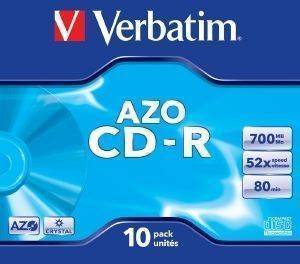 VERBATIM CD-R 80MIN - 700 MB 52X DLP AZO JEWEL CASE 10PCS