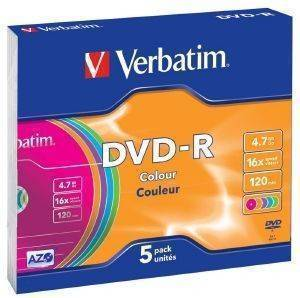 VERBATIM DVD-R 4.7GB 16X COLOUR SLIM CASE 5PCS
