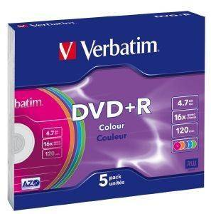 VERBATIM DVD+R 4.7GB 16X COLOUR SLIM CASE 5PCS