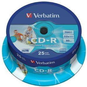 VERBATIM CD-R 80MIN - 700 MB 52X WIDE PRINTABLE CAKEBOX 25PCS