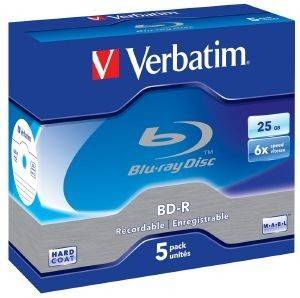 VERBATIM BLU-RAY BD-R 6X 25GB JEWEL CASE 5PCS