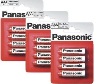 ΜΠΑΤΑΡΙΑ PANASONIC ZINC CARBON AAA 12 ΤΕΜ. αναλώσιμα μπαταριεσ aaa