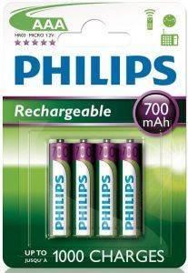 ΜΠΑΤΑΡΙΑ RECHARGEABLE PHILIPS 3A 700MAH 4 ΤΕΜ HR03 αναλώσιμα μπαταριεσ aaa