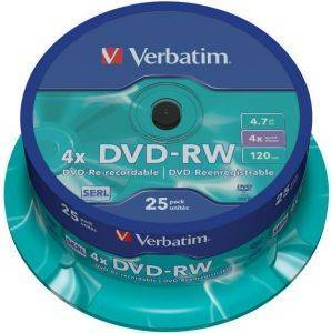 VERBATIM 43639 4X DVD-RW 4.7GB SPINDLE 25PCS