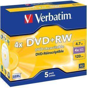 VERBATIM DVD+RW JEWEL CASE 4,7GB 4X 5PCS