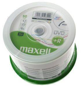 MAXELL DVD+R 4.7GB 16X INKJET PRINTABLE CAKEBOX 50PCS
