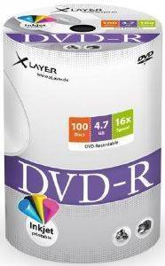 XLAYER DVD-R 4.7GB INKJET WHITE FULL SURFACE 16X SHRINK PACK 100PCS