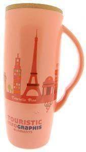 ΚΟΥΠΑ SPACECOW TOURISTIC PARIS ΡΟΖ 8X18CΜ 600ML