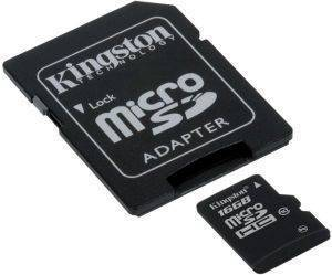 KINGSTON SDC10/16GB-2ADP 16GB MICRO SDHC WITH 2 ADAPTERS