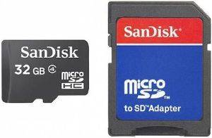 SANDISK 32GB MICRO SD HIGH CAPACITY WITH SD ADAPTER CLASS 4 SDSDQM-032G-B35A
