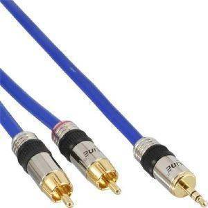 INLINE AUDIO CABLE 2XRCA TO 3.5MM JACK 5M