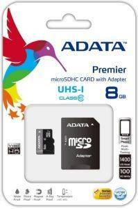 ADATA 8GB MICRO SECURE DIGITAL HIGH CAPACITY WITH ADAPTER UHS-I CLASS 10