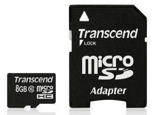 TRANSCEND TS8GUSDHC10 8GB MICRO SDHC CLASS 10 PREMIUM WITH ADAPTER