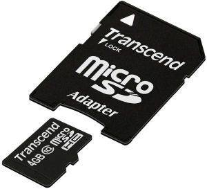 TRANSCEND TS4GUSDHC10 4GB MICRO SDHC CLASS 10 PREMIUM WITH ADAPTER