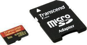 TRANSCEND TS8GUSDHC10U1 8GB MICRO SDHC CLASS 10 UHS-I 600X ULTIMATE WITH ADAPTER