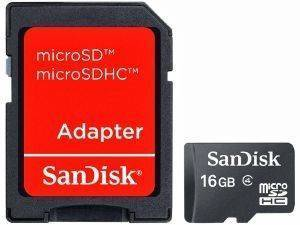 SANDISK 16GB MICRO SDHC CLASS 4 + SD ADAPTER SDSDQM-016G-B35A