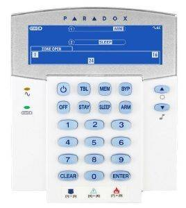 PARADOX K35 32-ZONE HARDWIRED FIXED LCD KEYPAD MODULE