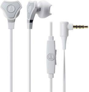 AUDIO TECHNICA ATH-CHX5IS SONICFUEL HYBRID EARBUD HEADPHONES FOR SMARTPHONES WHITE