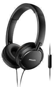 PHILIPS SHL5005/00 ON-EAR FLAT FOLDING HEADPHONES WITH MIC BLACK