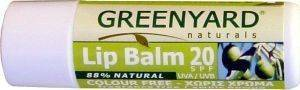LIP BALM 20SPF COLOUR FREE BY GREENYARD (4.7 GR)