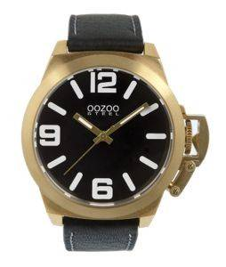 ΑΝΔΡΙΚΟ ΡΟΛΟΙ OOZOO STEEL XL BLACK LEATHER STRAP