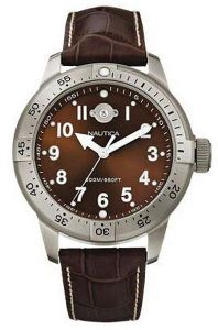 ΑΝΔΡΙΚΟ ΡΟΛΟΙ NAUTICA BROWN DIAL LEATHER STRAP