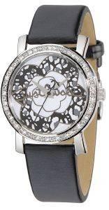 ΓΥΝΑΙΚΕΙΟ ΡΟΛΟΙ JUST CAVALLI MOON BLACK LEATHER STRAP