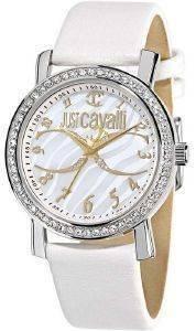 ΓΥΝΑΙΚΕΙΟ ΡΟΛΟΙ JUST CAVALLI MOON WHITE LEATHER ρολόγια γυναικεια just cavalli δερματινα