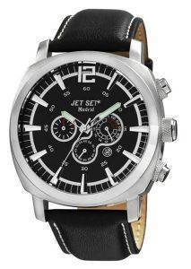 ΑΝΔΡΙΚΟ ΡΟΛΟΙ JET SET MADRID CHRONOGRAPH BLACK LEATHER STRAP