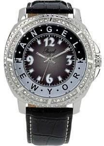 ΓΥΝΑΙΚΕIΟ ΡΟΛOΙ ANGEL ANGEL CRYSTAL BLACK LEATHER STRAP ρολόγια γυναικεια λοιπα δερματινα