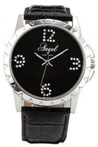 ΓΥΝΑΙΚΕΙΟ ΡΟΛΟΙ ANGEL CRYSTAL BLACK LEATHER STRAP