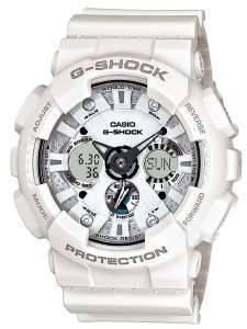 CASIO G SHOCK WHITE RUBBER STRAP GA 120A 7AER  Ενα ανδρικό ρολόι G Shock είναι σχεδιασμένο να έχει όλες τις λειτουργίες που θα σας κρατήσουν σε εγρήγορση ένδειξη παγκόσμιας ώρας χρονόμετρο επαναλα