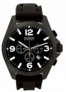 ΑΝΔΡΙΚΟ ΡΟΛΟΙ OOZOO STEEL XL CHRONOGRAPH BLACK RUBBER STRAP