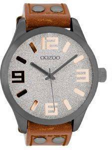 ΑΝΔΡΙΚΟ ΡΟΛΟΙ OOZOO TIMEPIECES XXL BROWN LEATHER STRAP C8465