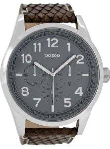 ΑΝΔΡΙΚΟ ΡΟΛΟΙ OOZOO TIMEPIECES XXL BROWN LEATHER STRAP C8287