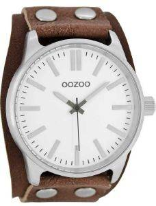 ΑΝΔΡΙΚΟ ΡΟΛΟΙ OOZOO TIMEPIECES XXL BROWN LEATHER STRAP C8281