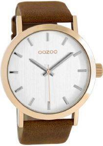 ΑΝΔΡΙΚΟ ΡΟΛΟΙ OOZOO TIMEPIECES XL ROSE GOLD BROWN LEATHER STRAP C8271