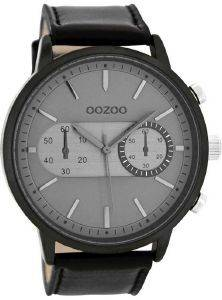 ΑΝΔΡΙΚΟ ΡΟΛΟΙ OOZOO TIMEPIECES XXL BLACK LEATHER STRAP C8269
