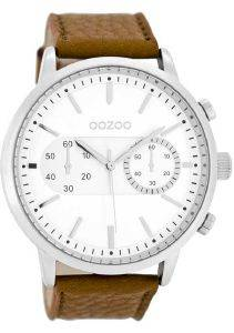 ΑΝΔΡΙΚΟ ΡΟΛΟΙ OOZOO TIMEPIECES XXL BROWN LEATHER STRAP C8265