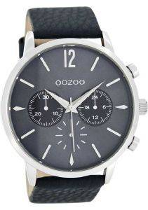 ΑΝΔΡΙΚΟ ΡΟΛΟΙ OOZOO TIMEPIECES XXL BLUE LEATHER STRAP C8242