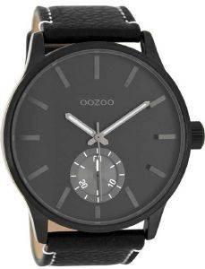 ΑΝΔΡΙΚΟ ΡΟΛΟΙ OOZOO TIMEPIECES XXL BLACK LEATHER STRAP C8214 ... b77f6951cea