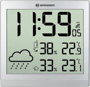 BRESSER TEMEOTREND JC SILVER LCD WEATHER WALL CLOCK SILVER 7006404 gadgets weather stations weather stations