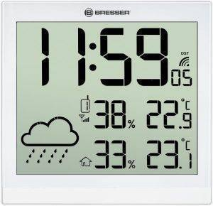 BRESSER TEMEOTREND JC WHITE LCD WEATHER WALL CLOCK WHITE 7005404 gadgets weather stations weather stations