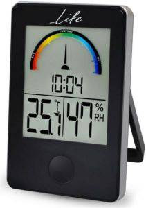 LIFE WES-100 DIGITAL INDOOR THERMOMETER AND HYGROMETER WITH CLOCK BLACK gadgets weather stations weather stations
