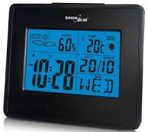 GREENBLUE GB144 WEATHER STATION CLOCK MOON CALENDAR BLACK gadgets weather stations weather stations
