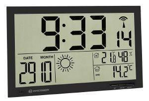 BRESSER MYTIME JUMBO LCD WEATHER WALL CLOCK BLACK gadgets ρολογια τοιχου
